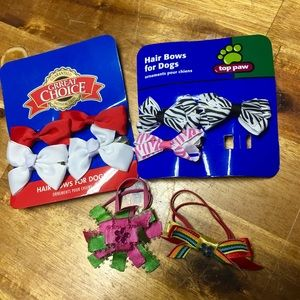 Dog Bow Barrettes and Ties Brand New Never Worn